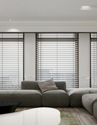 Living room interior with blinds and houseplant